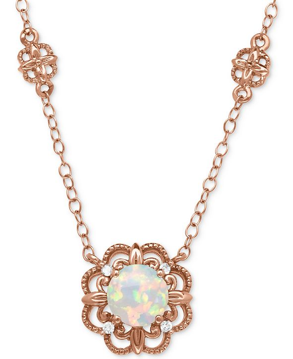 """Macy's Opal (1/2 ct. t.w.) with Diamond Accent Filigree Floral 17"""" Pendant Necklace in 14k Rose Gold"""