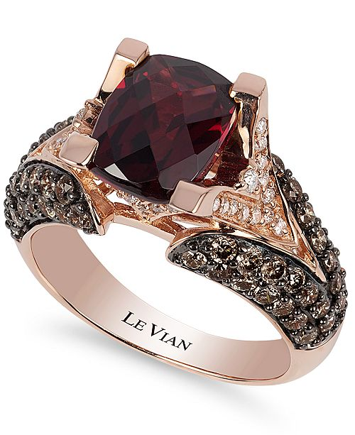 Le Vian Raspberry Rhodolite® Garnet (3 ct. t.w.), Chocolate Diamonds® (1-1/5 ct. t.w.) and White Diamond Accent Ring in 14k Rose Gold