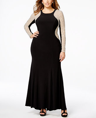 9578505ab03 XSCAPE Plus Size Beaded Illusion Hourglass Gown   Reviews - Dresses - Women  - Macy s