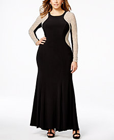 Xscape Plus Size Beaded Illusion Hourglass Gown