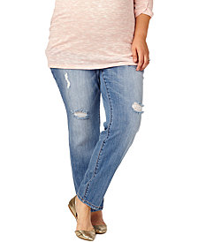 Motherhood Maternity Plus Size Distressed Skinny Jeans, Bright Blue Wash