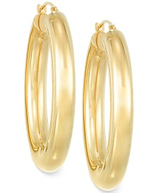 Signature Gold™ Polished Hoop Earrings in 14k Gold over Resin