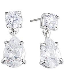 Silver-Tone Crystal Pear-Shape Earrings