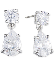 Givenchy Silver-Tone Crystal Pear-Shape Earrings