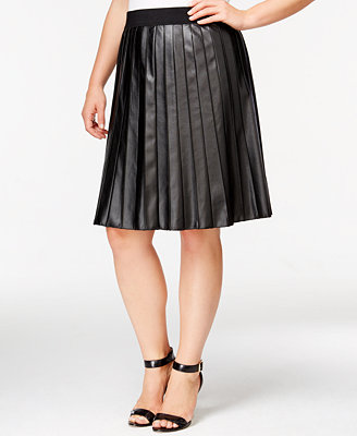 alfani plus size faux leather pleated skirt only at macy
