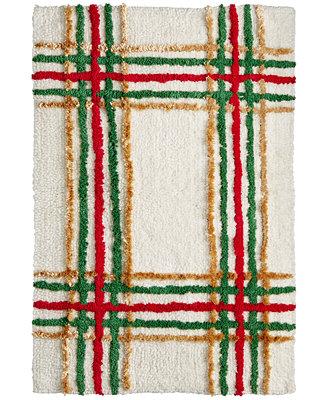 Closeout lenox holiday nouveau plaid 20 x 20 bath rug for International decor bath rugs