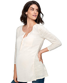 A Pea In The Pod Maternity Lace-Back Mixed-Media Top