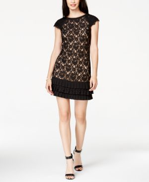 Jessica Simpson Cap-Sleeve Tiered Lace Dress thumbnail