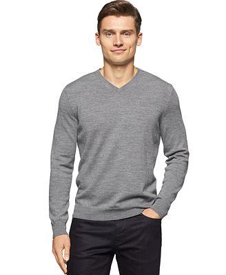 Calvin Klein Men's Merino Wool V-Neck Sweater - Sweaters - Men ...