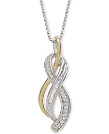 Diamond Figure-8 Pendant Necklace (1/10 ct. t.w.) in Sterling Silver and 14k Yellow Gold