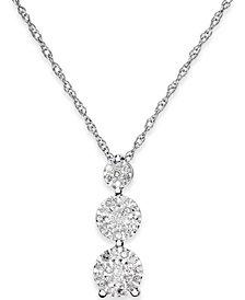 Diamond Trio Pendant Necklace (1/5 ct. t.w.) in Sterling Silver