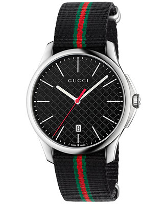 Gucci Men's Swiss G-Timeless Black Striped Nylon YA126321