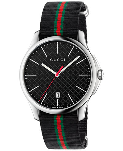 gucci men 39 s swiss g timeless black striped nylon nato. Black Bedroom Furniture Sets. Home Design Ideas