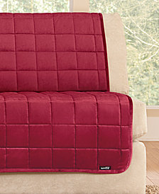 Sure Fit Velvet Deluxe Pet Armless Loveseat Slipcover with Sanitize Odor Release