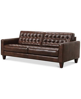 bray button tufted leather sofa furniture macy s