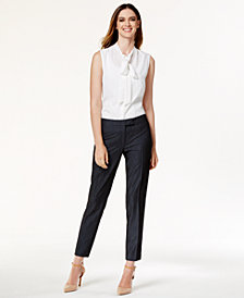 Anne Klein Sleeveless Tie-Neck Blouse & Faux-Denim Suiting Pants