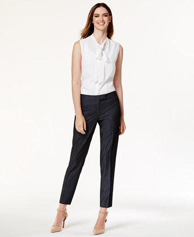 Anne Klein Sleeveless Tie-Neck Blouse & Faux-Denim Suiting Pants