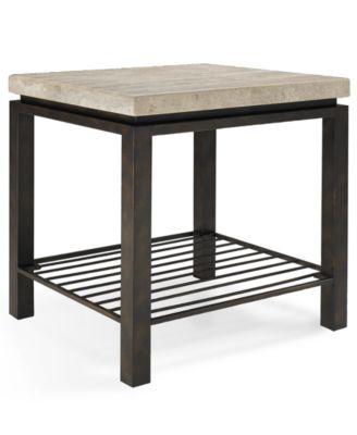 Tempo Travertine Top Rectangular End Table