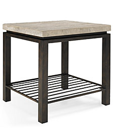 Tempo Travertine Top Rectangular End Table