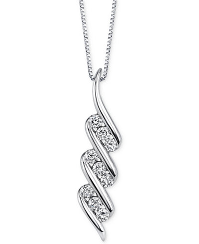 Sirena Diamond Swirl Pendant Necklace (1/3 ct. t.w.) in 14k White Gold