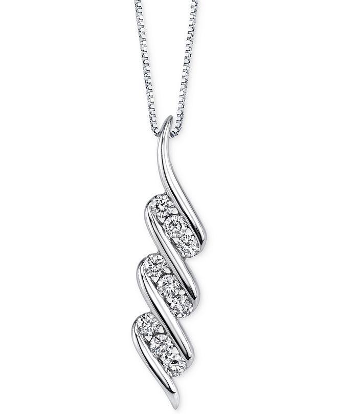 Macy's Sirena Diamond Swirl Pendant Necklace (1/3 ct. t.w.) in 14k White Gold