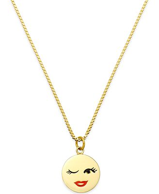 kate spade new york Gold Tone Winking Emoji Pendant Necklace