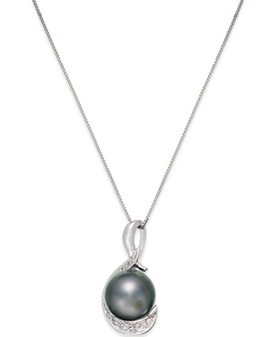 Cultured Tahitian Black Pearl (9mm) and Diamond (1/10 ct. t.w.) Swirl Pendant Necklace in 14k White Gold