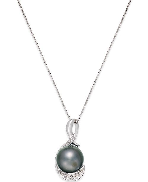 Macy's Cultured Tahitian Black Pearl (9mm) and Diamond (1/10 ct. t.w.) Swirl Pendant Necklace in 14k White Gold