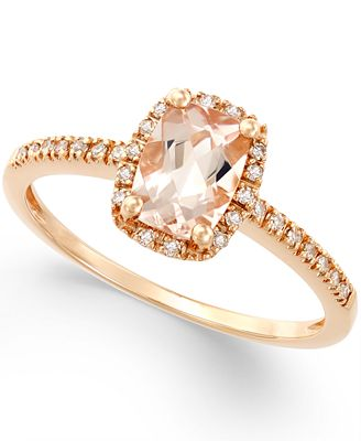 Morganite 3 4 ct t w and Diamond 1 10 ct t w Ring in 14k
