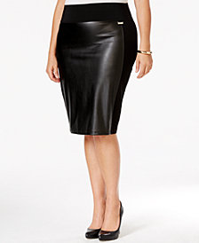 Calvin Klein Plus Size Faux-Leather-Front Pencil Skirt