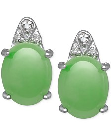 Jade  (8mm x 10mm) and Diamond Accent Stud Earrings in Sterling Silver