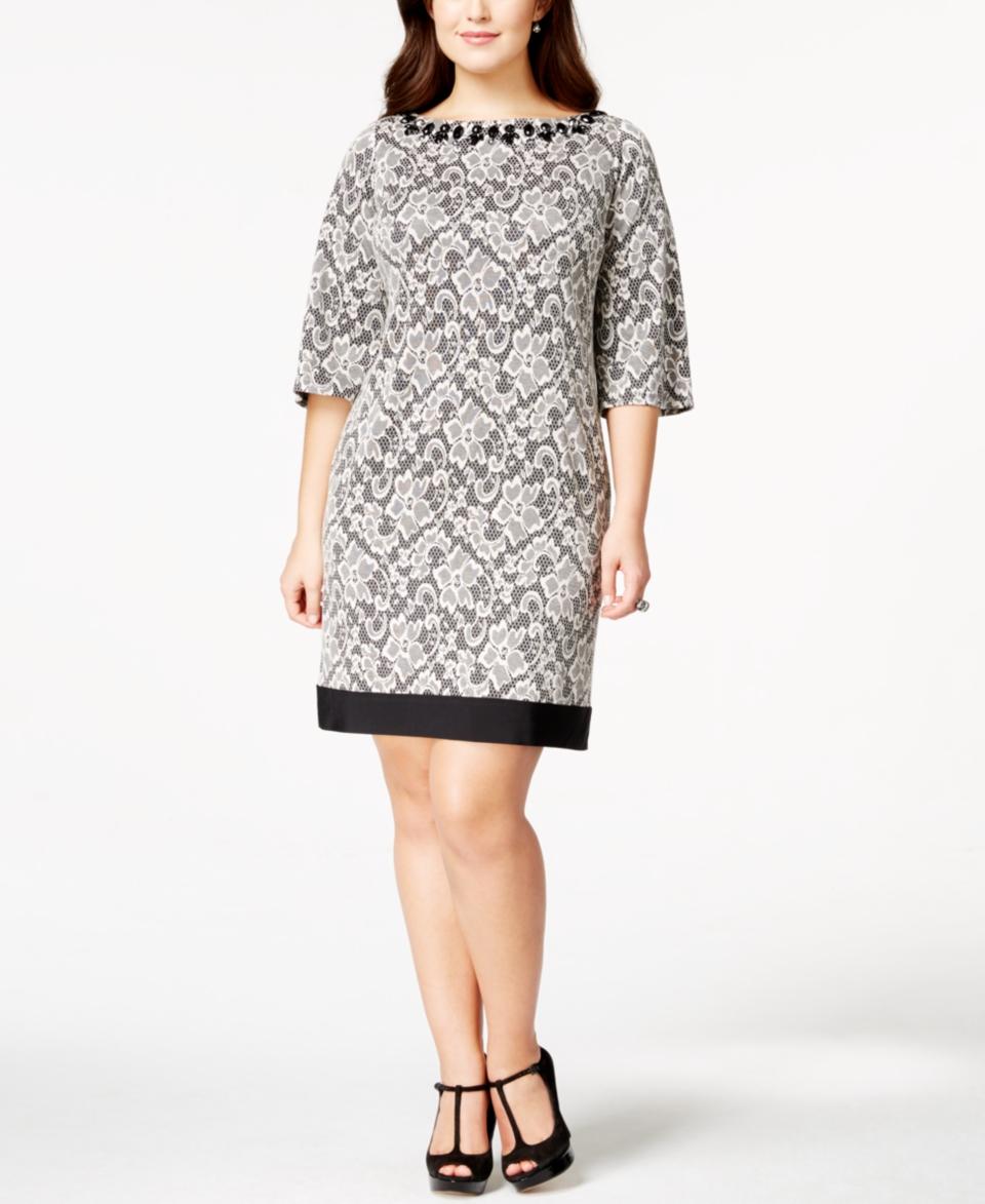 Jessica Howard Plus Size Jewel Trim Lace Print Shift Dress   Dresses