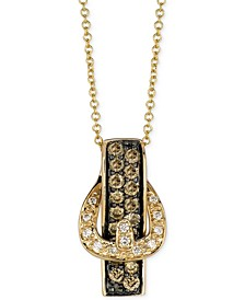 White Diamond Accent and Chocolate Diamond (1/2 ct. t.w.) Buckle Pendant Necklace in 14k Gold