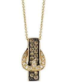 Le Vian White Diamond Accent and Chocolate Diamond (1/2 ct. t.w.) Buckle Pendant Necklace in 14k Gold