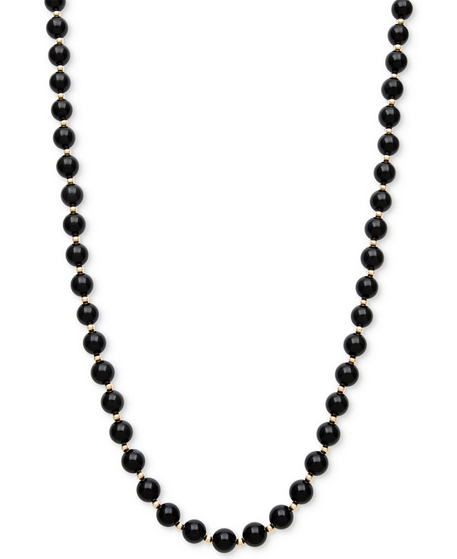 Macy's Onyx Bead Necklace (3mm) in 10k Gold
