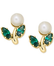 Children's Cultured Freshwater Pearl and Green Crystal Stud Earrings in 14k Gold