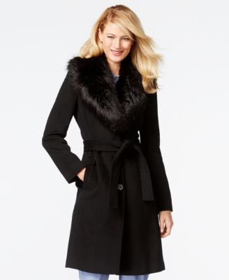 Calvin Klein Faux-Fur-Collar Walker Coat - Coats - Women - Macy's