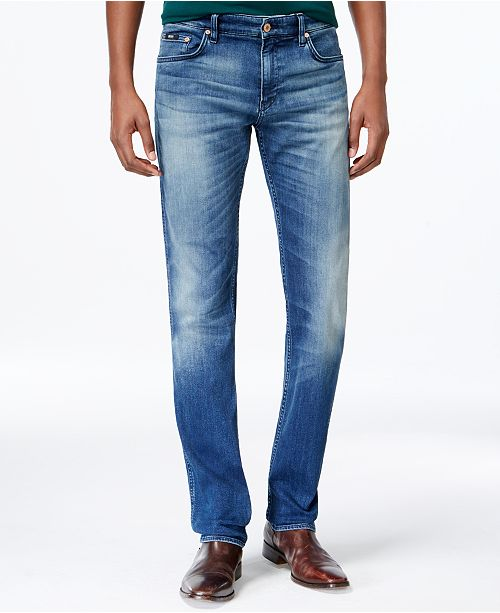 1c0a455b Hugo Boss BOSS Delaware Light-Blue Slim-Fit Denim Jeans & Reviews ...