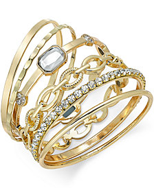 I.N.C. Gold-Tone Crystal Enhanced Multi-Bangle Bracelet, Created for Macy's