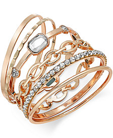 I.N.C. Gold-Tone Crystal Enhanced Multi-Bangle Bracelet, Created for Macy's