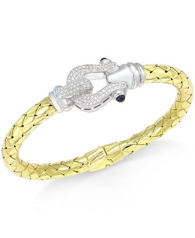 Diamond Horseshoe Bangle Bracelet (1/2 ct. t.w.) in 14k Gold-Plated Sterling Silver