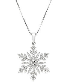 Diamond (1/3 ct. t.w.) Snowflake Adjustable Pendant Necklace in Sterling Silver