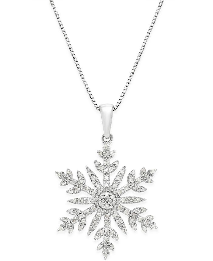 Macy's - Diamond (1/3 ct. t.w.) Snowflake Adjustable Pendant Necklace in Sterling Silver