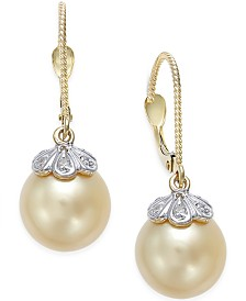 Cultured Golden South Sea Pearl (10mm) and Diamond Accent Earrings in 14k Gold
