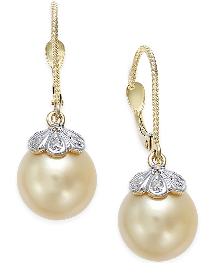 Macy's - Cultured Golden South Sea Pearl (10mm) and Diamond Accent Earrings in 14k Gold