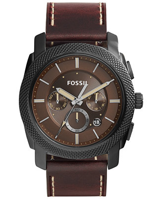 Fossil Men's Chronograph Machine Dark Brown Leather