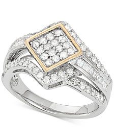 Wrapped in Love™ Diamond Ring (1 ct. t.w.) in 14k Gold and Sterling Silver, Created for Macy's