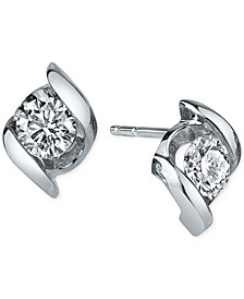 Diamond Twist Stud Earrings (1/4 ct. t.w.) in 14k White Gold