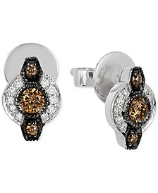 Chocolatier® Chocolate Deco Estate™  Diamond (6- 18 ct. t.w.) stud Earrings in 14k White Gold