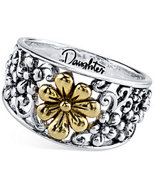 Daughter Flower Ring in Sterling Silver and Gold-Flashed Sterling Silver